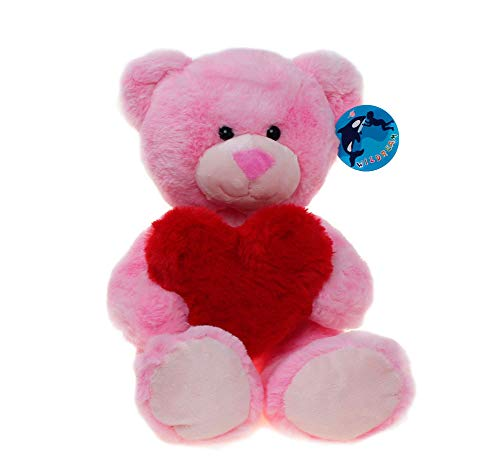 WILDREAM Pink Teddy Bear Plush Toy with Holding a Red Heart -