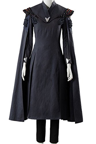 Game Of Thrones Dragon Lady Costume (mingL Cosplay Women's Season 7 Daenerys Targaryen Dany Dress Cosplay Costume Gray Dress Gown Cape)
