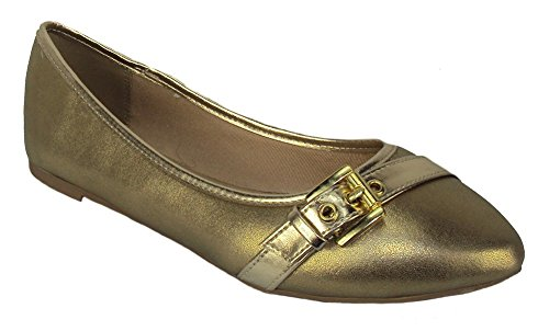 City Classified Women Casual Flat Shoe Pointy Toe Gel Insole Comfy BROIL Gold gIxDmPd