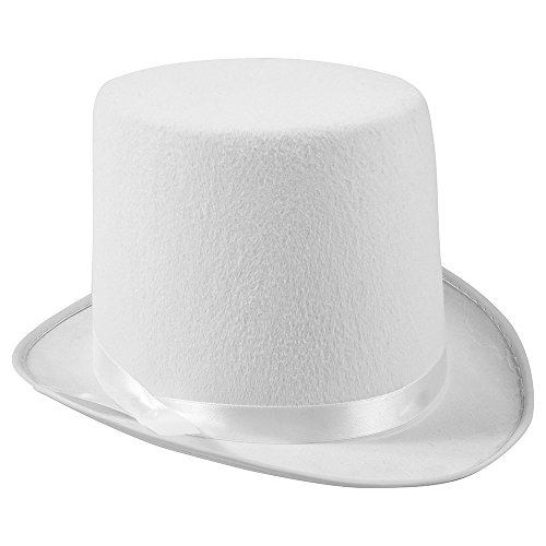 White Top Hat - Costume Top Hat - Felt Top Hat by Funny Party Hats -
