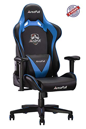 AutoFull Computer Gaming Chair - Adjustable Reclining High-Back PU Leather Swivel Game Chair with...