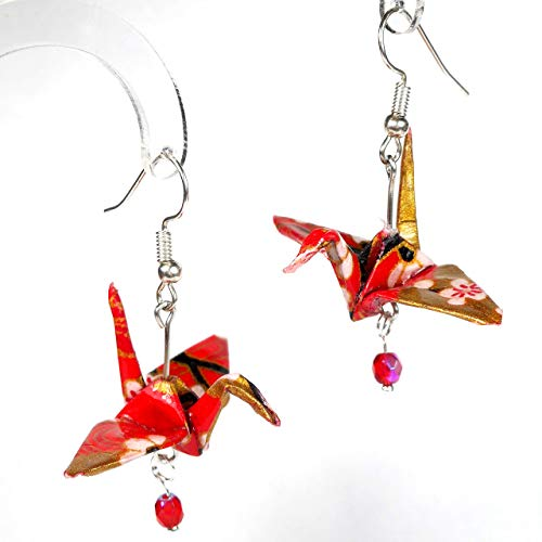 Santa Fe Crane - Red White Gold color Origami Paper Crane Earrings with Silver or Brass Tone Ear-wire, Good Luck Gift