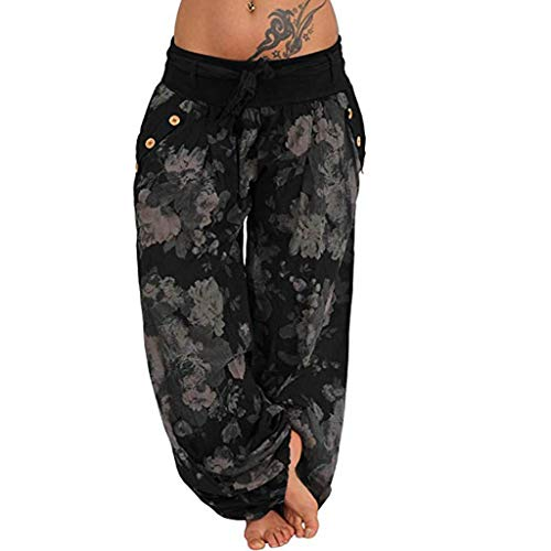 Stretch Moleskin Vest - Toimothcn Women Elastic Baggy Hippie Boho Gypsy Aladdin Yoga Harem Pants Lounge Trousers(Black1,XXXXXL)