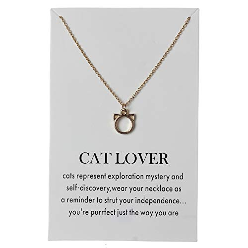 Davitu 1pc Minimalist Cat Bird Heart Charms Lover Wish Card Choker Necklaces Links Chains Gold Plate for Women Statement Jewelry Gift Metal Color: Gold