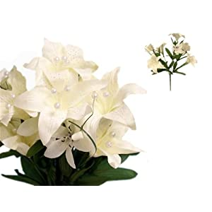 Efavormart 70 Tiger Lily Artificial Wedding Flowers for DIY Wedding Bouquets Arrangements Party Home Decorations - Ivory 39