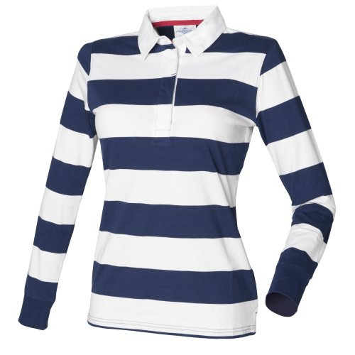 Womens xs striped polo shirt for Pink and purple striped rugby shirt