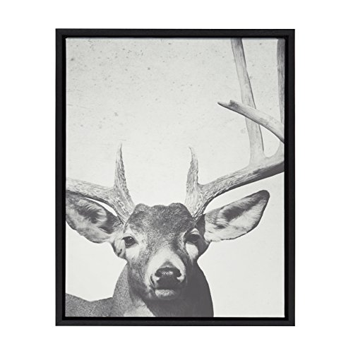 Monochromatic Pack - Kate and Laurel Sylvie Deer with Antlers Black and White Monochromatic Animal Framed Canvas Wall Art by F2 Images, Black 18 x 24