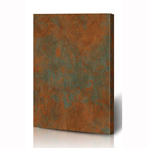 (Ahawoso Canvas Prints Wall Art 12x16 Inches Steel Green Aged Brass Copper Bronze Light Iron Patina Brown Wall Vintage Antique Abstract Art Wooden Frame Printing Home Living Room Office Bedroom)
