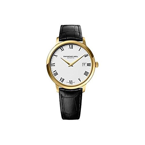 Raymond Weil Toccata White Dial Black Leather Strap Mens Watch 5488-PC-00300