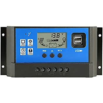 Solar Panel Controller 10A 12V//24V Auto Paremeter Adjustable LCD Display Solar Panel Regulator with Dual USB Load Timer Setting 12//24V 10A Caliweike 10A Solar Charge Controller