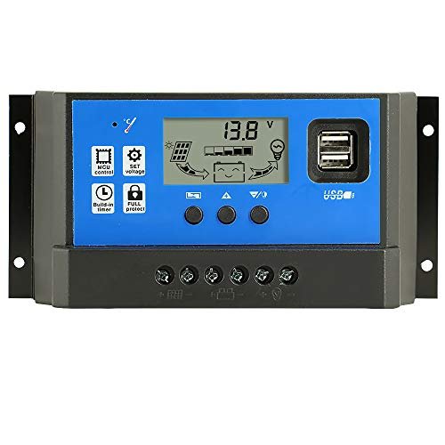 Y&H Dual USB PWM Solar Charge Controller 60A 12V/24V Auto Adjustable Parameter LCD Display Solar Panel Controller Regulator with Load Timer Setting ON/Off Hours
