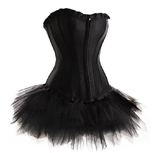 (LFFW Princess Dress/Satin Lace up Boned Corset Mini Tutu Skirt/Plus Size Black)