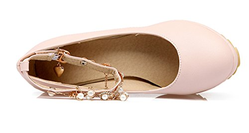 YE Damen High Heels Plateau Glitzer Pumps mit Riemchen und Keilabsatz Strass Perlen 10cm Absatz Süß Bequem Schuhe Rosa