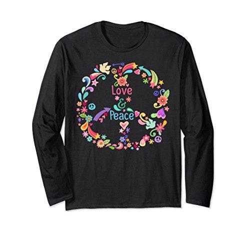 Unisex PEACE SIGN LOVE T Shirt 60s 70s Tie Die Hippie Holiday Shirt Medium Black Adult Groovy Hippie Shirt