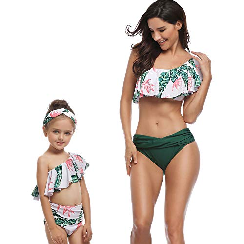 One-Shoulder Floral Ruffle Girl Swimwear Family Bathing Suit Flounce Swimsuit Top High Waist Beachwear Bottom for Girl (Green, Women-XL)
