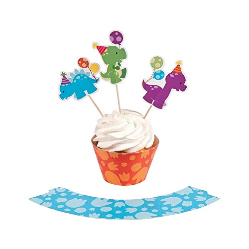 Little Dino Cupcake Wrappers with Picks. (Makes 50 Treats 100 pcs. per unit) 50 collars and 50 picks]()