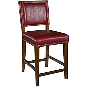 Amazon Com Linon Brook Bar Stool Red Kitchen Amp Dining