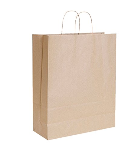 KC Store Fixtures 06205 Kraft Shopping Bag, 16'' x 6'' x 19'', Brown (Pack of 200)