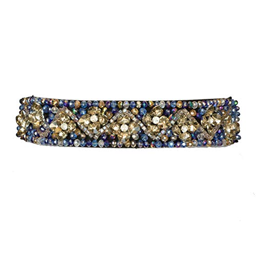 Two 12 Fashion Women's Thick Floral Rhinestone Jeweled Belt, Blue (Jeweled Belt)