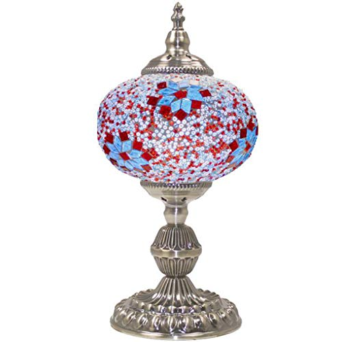 (Silver Fever Handcrafted Mosaic Turkish Lamp -Moroccan Glass - Table Desk Bedside Light- Bronze Base (Flowers)