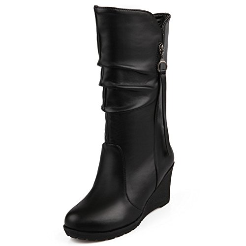 PU High Classic calf Mid Winter Wedges Women Boots Autumn Heel Shoes Black TAOFFEN 5PUpYqx6w