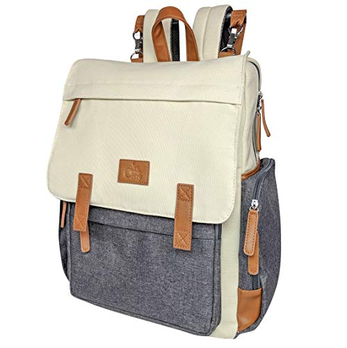 Baby Diaper Backpack Large Diaper Bag by CUTIE CARRY with Changing Pad Stroller Straps Insulated Pockets and Padded Shoulders for Mom Dad Cream Canvas