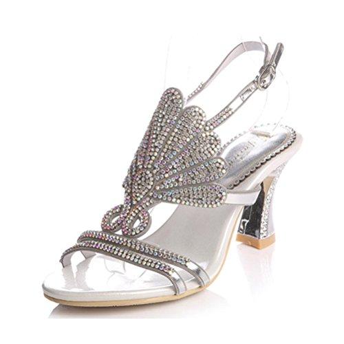 QPYC con cristal abierto gran femeninas altos Diamante sandalias tacones de de Silver Rhinestone pescado cielo hebilla a boca Roma fino tamaño rqvrnU7x