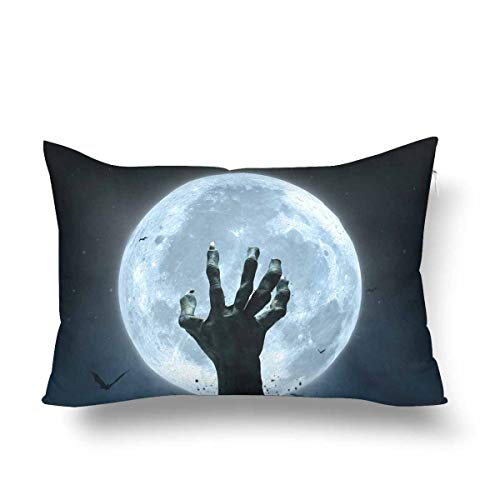 ooPIN Halloween Zombie Hand Grave Full Moon Pillow Cases Pillowcase, Rectangle Pillow Covers Protector for Home Couch Sofa Bedding Decorative -