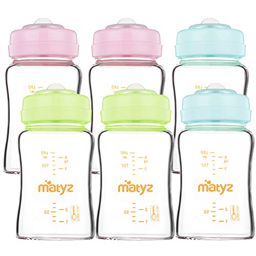 (Matyz 6 PCS Glass Breast Milk Collection and Storage Bottles (6oz Each, 3 Colors) - Can Be Used as Glass Baby Bottle with the Bonus Nipples - Leak Proof Design)