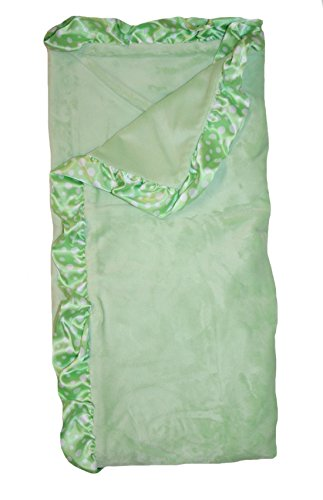 (My Blankee Solid Sage Green Velour with Bubble Satin Border Baby Blanket )