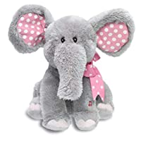 """Cuddle Barn   Ellie 12"""" Elephant Animated Stuffed Animal Plush Toy For Kids   Pink Ears Flappy Movement and Head Sway   Sings """"Do Your Ears Hang Low"""""""