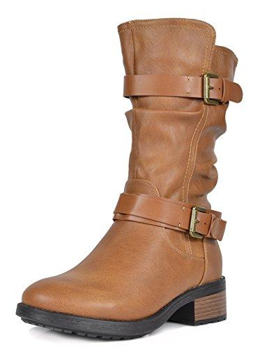 Pocono Camel Faux Fur Mid Calf Riding Winter Boots Size 7 M US ()