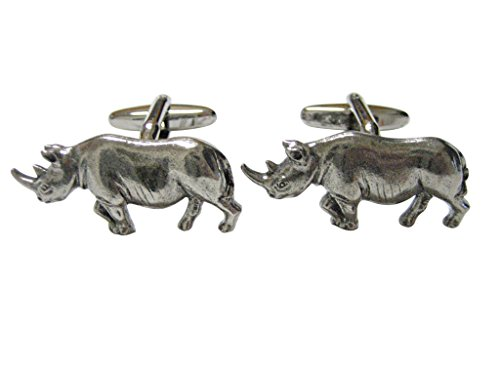 (Silver Toned Textured Rhino Pendant Cufflinks)