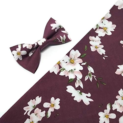 - GRAPE floral white pink blossoms bow tie for men neck tie pastel wedding men's accessories Freestyle bowtie Skinny tie Groom Brother Father gift idea