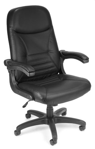 (OFM Office Furniture Black Leather Mobile Arm Executive Chair )