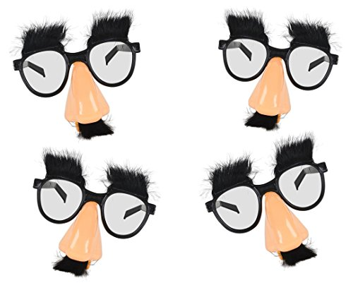 Play Kreative Disguise Glasses with Funny Nose, Eyebrows and Mustache – Pack of 12 Kids Funny Fuzzy Nose Groucho Marx Glasses for Halloween Costume, Dress up and Funny Party Jokes - Glasses Joke Funny