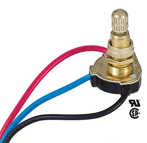 B&P Lamp 3-Way, 4-position, 2 Circuit Rotary Switch with removable knob, 5/8