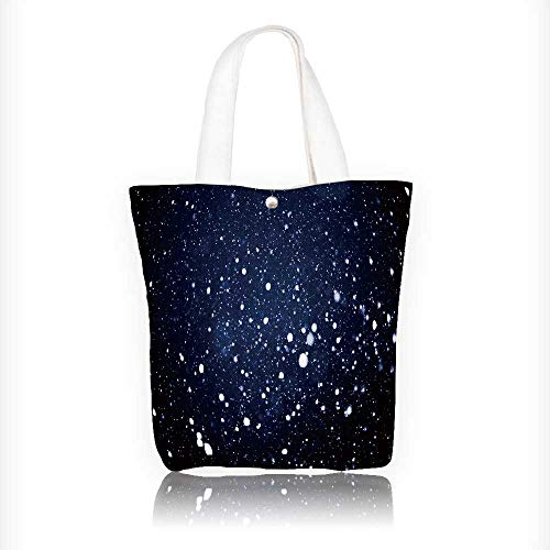 Canvas Beach Bags fall snow background snowflakes over night sky Totes for Women Zippered Beach Shoulder Bag W11xH11xD3 INCH