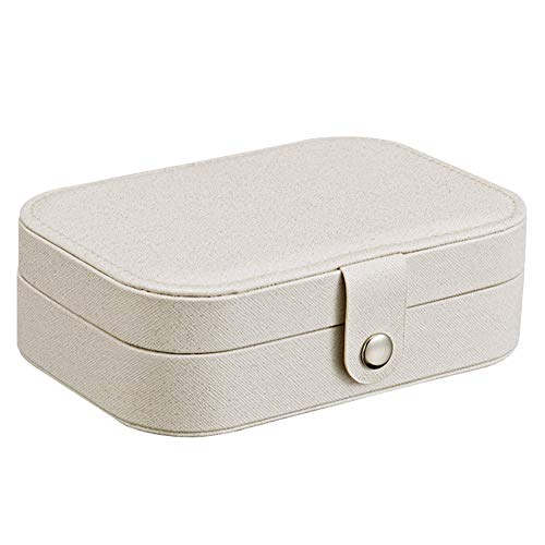 - Alamana 2 Tiers Portable Jewelry Organizer Box Earrings Travel Case Storage Container White