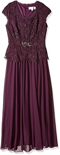 Emma Street Women's Lace Top With Brooch Fit Flair Long Chiffon Skirt, Eggplant, 10
