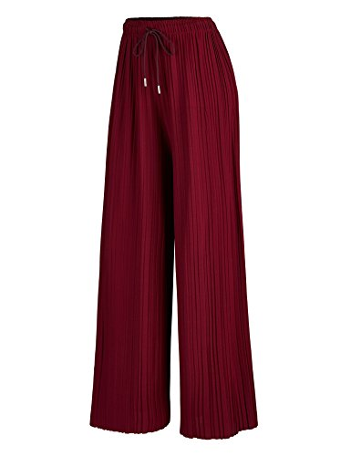 MBJ WB1484 Womens Pleated Wide Leg Palazzo Pants with Drawstring Plus Wine