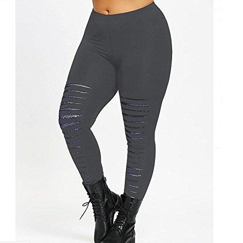 Frauen Loch Binggong Bequem Strumpfhosen XL Hosen Yoga Mode Damen Plus Grau Größe Workout Sport 5XL Hosen Trainingshosen Freizeithosen Sexy Leggings ZPXT5qwTW