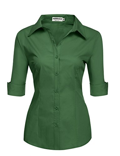 HOTOUCH Womens 3/4 Sleeve Button Down Shirt with Stretch,Army Green,Medium