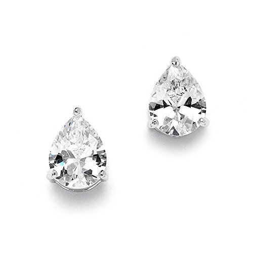 Mariell 2 Carat CZ Pear-Shaped Cubic Zirconia Stud Solitaire Earrings Plated in Genuine Silver Platinum ()