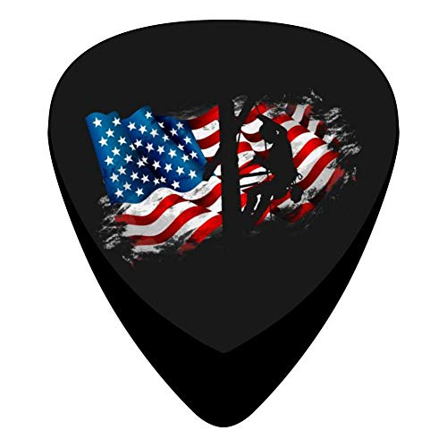 Patriotic American Usa Flag Lineman 351 Shape Medium Classic Celluloid Picks, 12-Pack, For Electric Guitar, Acoustic Guitar, Mandolin, And Bass