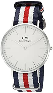 Daniel Wellington Men's 0202DW Canterbury Stainless Steel Watch with Tricolor Nylon Band