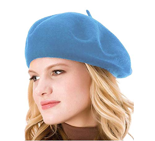 (HengwoYS Womens Solid Color 100% Wool French Beanie Cap Hat (Sky Blue))