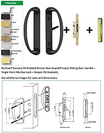 Rockwell Modena Contemporary Sliding Door Handle in Tuscan Bronze Finish fits 3-15//16 CTC screwholes and 1-1//2 to 1-3//4 Thick Doors with 3 or 4 Hole bore on The face of The Door.