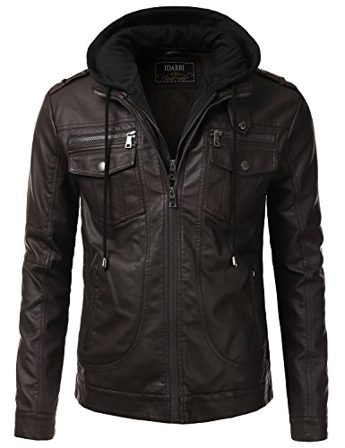 IDARBI Men's Premium PU Leather Motorcycle Bomber Jacket With Detachable Hood Brown L by IDARBI