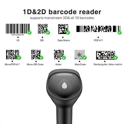 Barcode Scanner, Inateck QR Code Scanner, 2D, Wireless, Bluetooth, Read Screen, BCST-50 Black